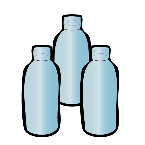 Illustration of water collection bottles