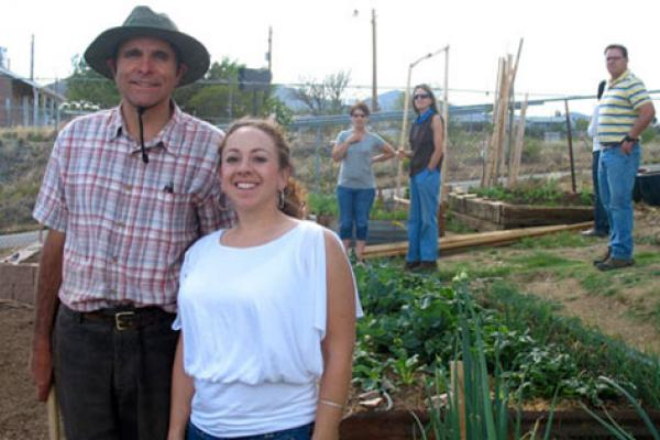 Gardening in Dewey-Humboldt, Arizona. From left to right: Bart Brush, Monica Ramirez, Danielle Carlin, Sandy Geiger and Rob Root.